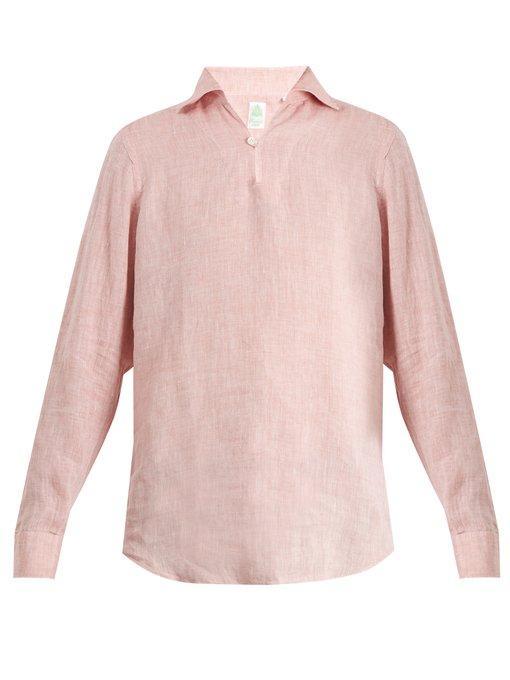 f1b06262f0 Finamore Minorca Spread-Collar Linen Shirt In Pink