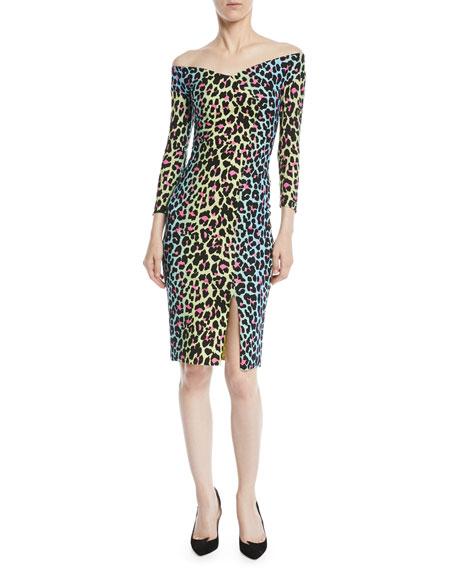 ba82eb4eadf3 Chiara Boni La Petite Robe Irene Leopard-Print Bateau-Neck Cocktail ...