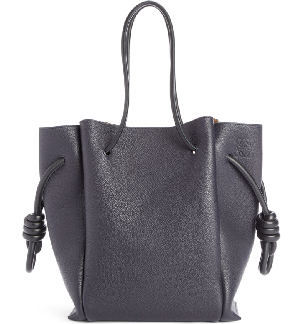 Loewe Flamenco Knot Leather Tote Bag - Varsity Blue, Tan
