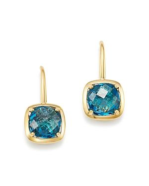 8180fa42de6 BLOOMINGDALE S. Blue Topaz Square Drop Earrings In 14K Yellow Gold - 100%  Exclusive ...