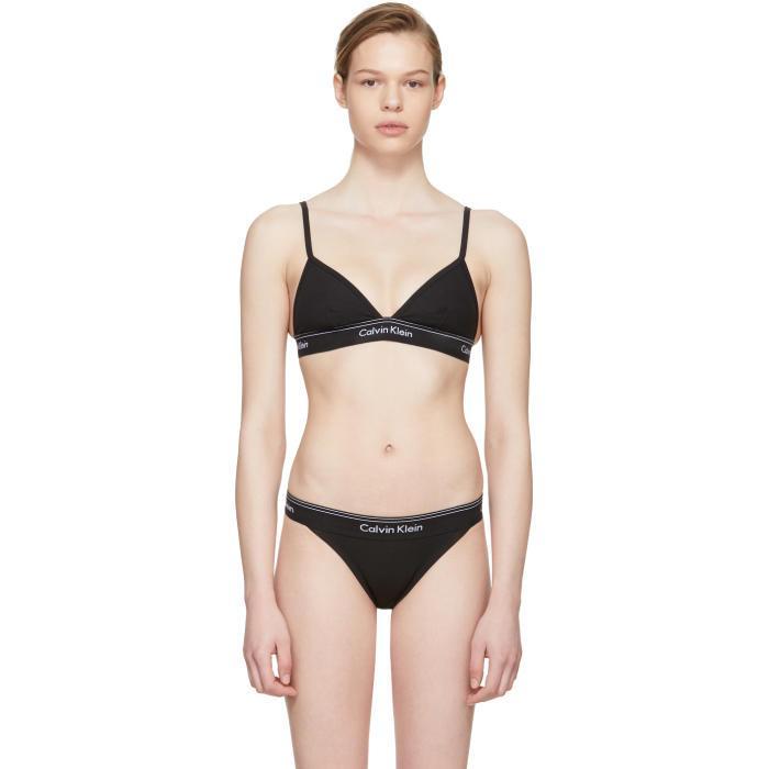 b87e14b81c04f Calvin Klein Underwear Heritage Athletic Wireless Triangle Bralette In 001  Black