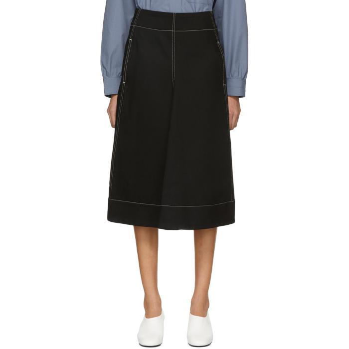 Lemaire Black Flared Skirt In 999 Black
