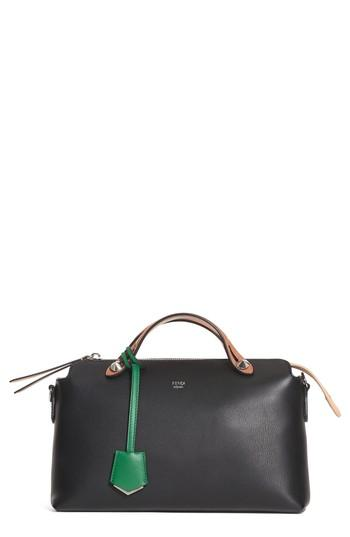 Fendi 'Medium By The Way' Colorblock Leather Shoulder Bag - Black In Black/Green/Multi