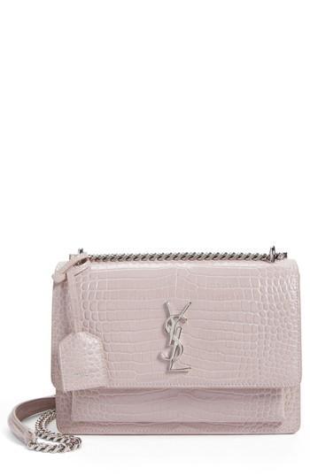 e46766e3cb Saint Laurent  Medium Monogram Sunset  Croc Embossed Leather Shoulder Bag -  Pink In Rose