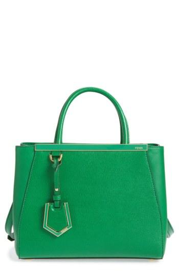 6b7379e1e450 Fendi  Petite 2Jours Elite  Leather Shopper - Green In Emerald Green ...