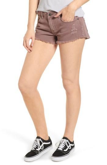 Hello Mellow Cutoff Denim Shorts In Raisin