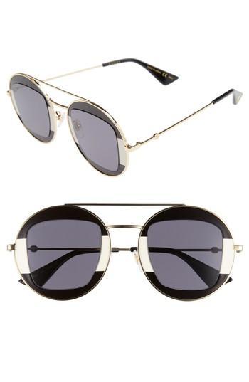 e5c0ec4a70 Gucci 47Mm Round Sunglasses - Black-Ivory  Grey