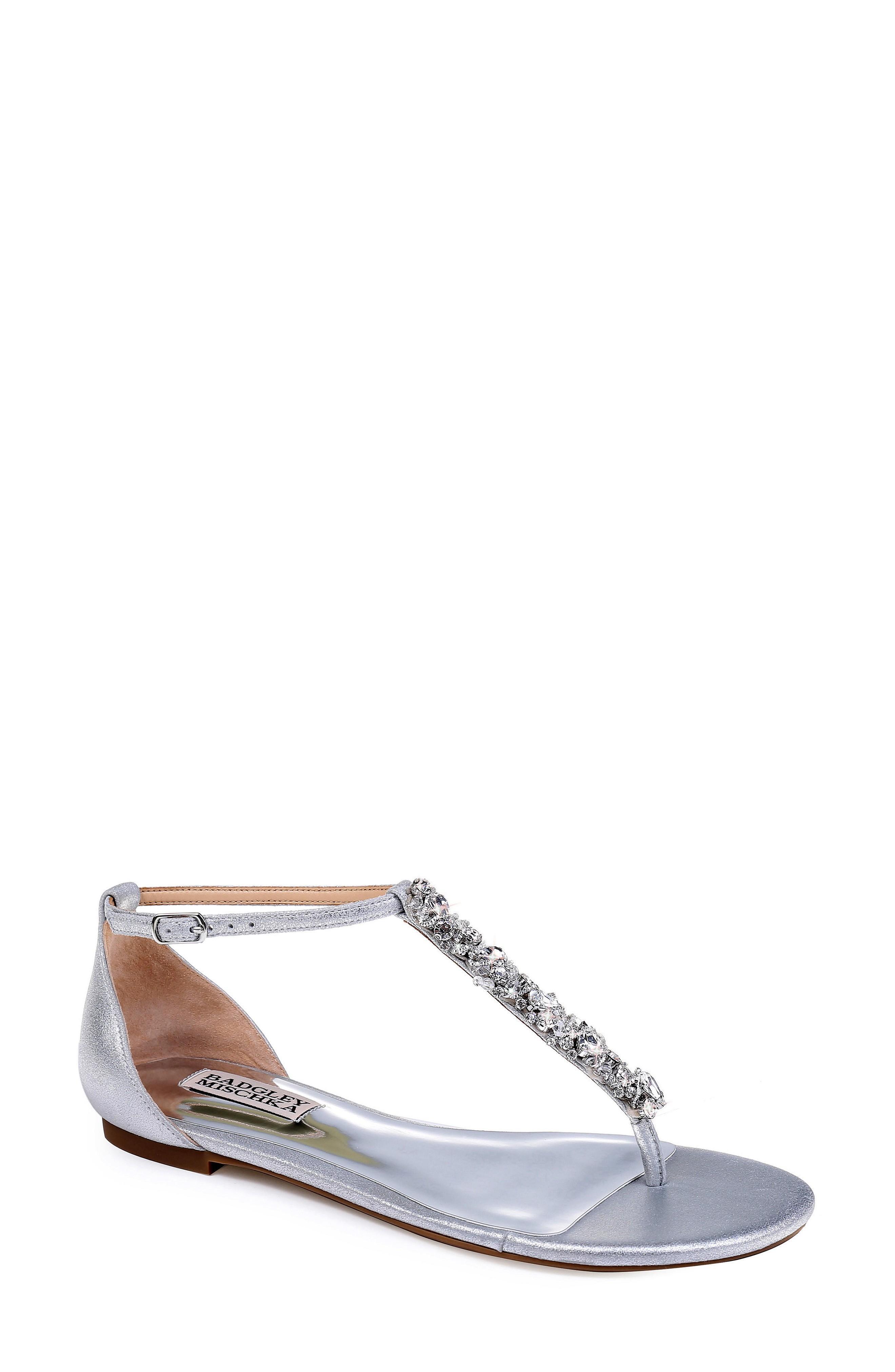 Badgley Mischka Holbrook T-Strap Sandal In Silver Metallic Suede