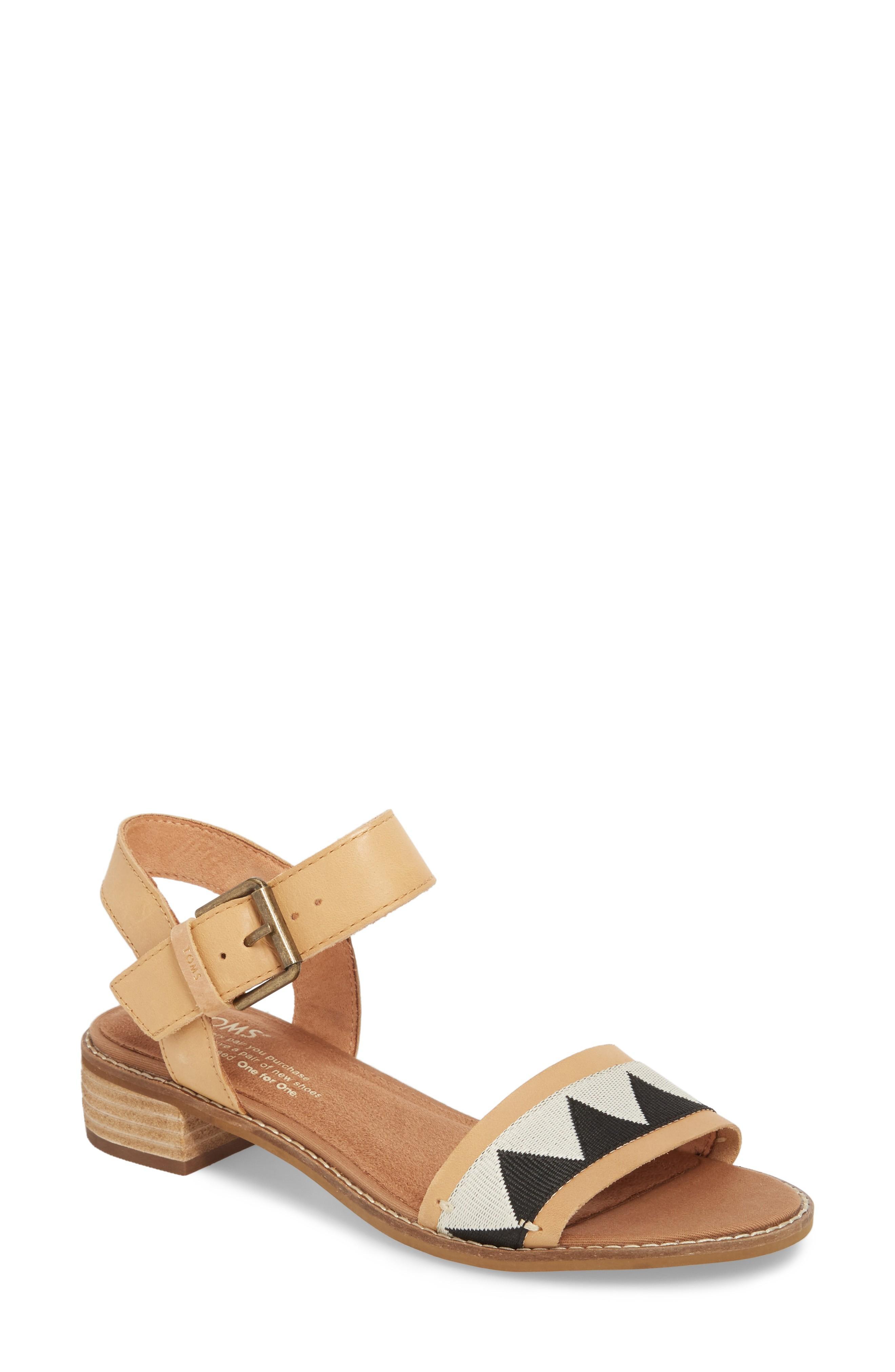 68f14ae3160 Toms Camilia Sandal In Honey Leather  Black Tribal