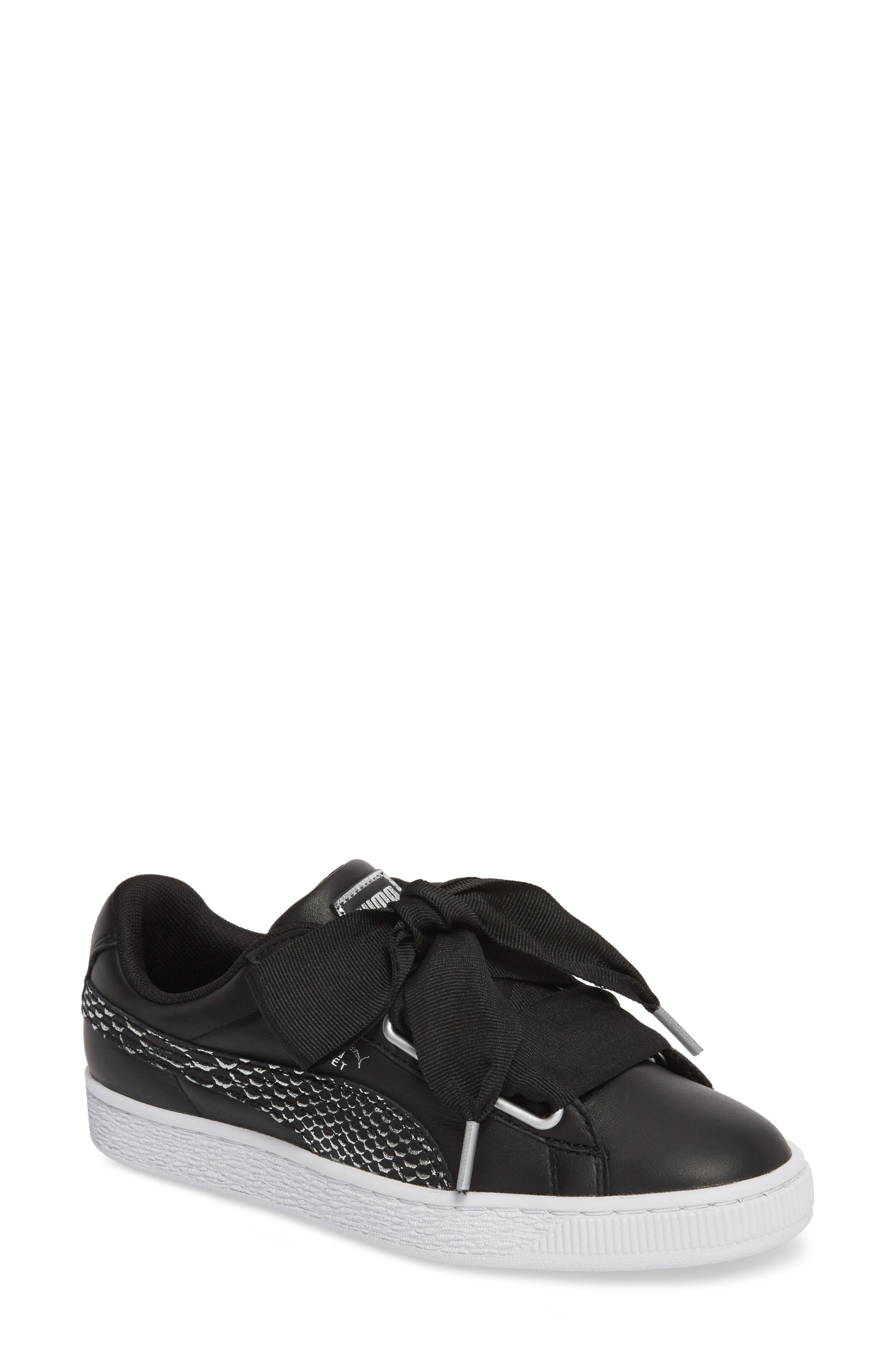Puma Basket Heart Sneaker In Black/ White/ Black