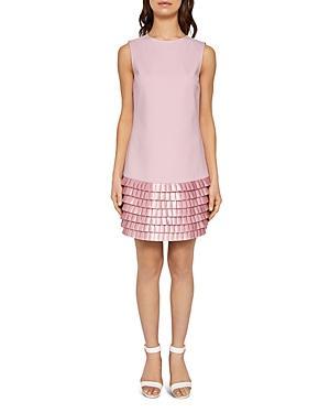 6c15ddab295d Ted Baker Satin Pleat Detail Shift Dress In Pink