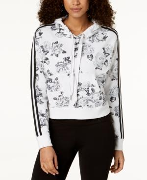 Calvin Klein Performance Rose Spray Printed Cropped Hoodie In Neutral Combo
