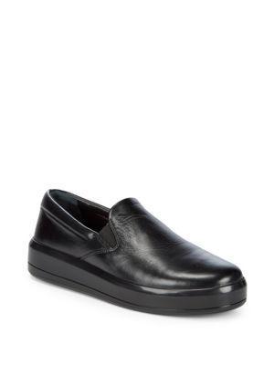 Prada Leather Slip-On Sneakers In Black
