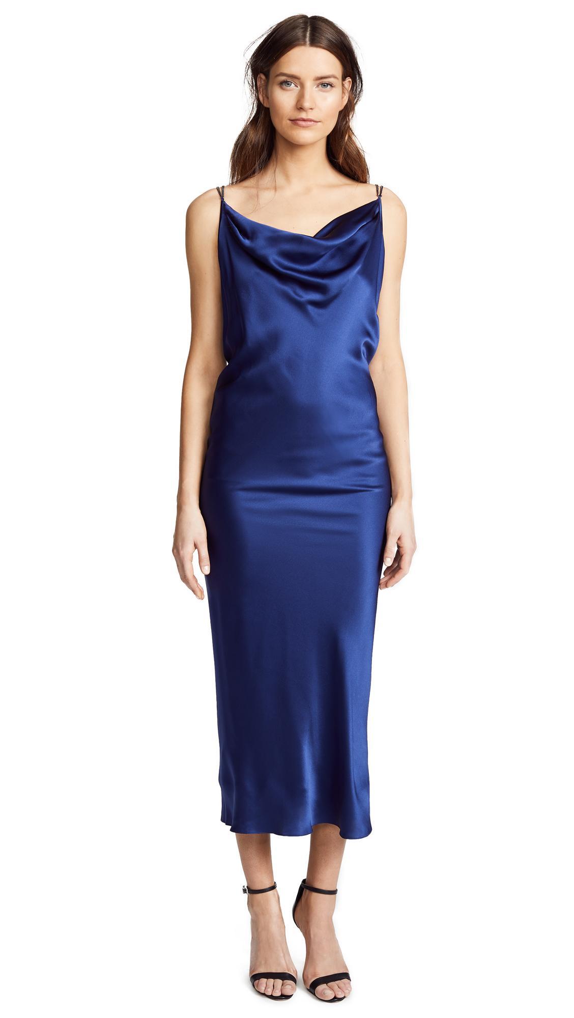 45af29c2c6e9 Vatanika Draped Backless Slip Dress In Blue | ModeSens