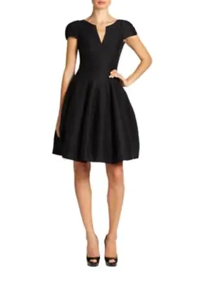 Halston Heritage Dress - Short Sleeve Notched Neck Tulip Skirt In Black