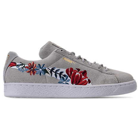 Puma Women's Suede Classic Embroidered Casual Shoes, Grey