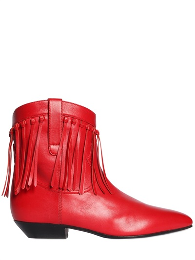 Saint Laurent 25Mm Titi Fringed Leather Boots In Red