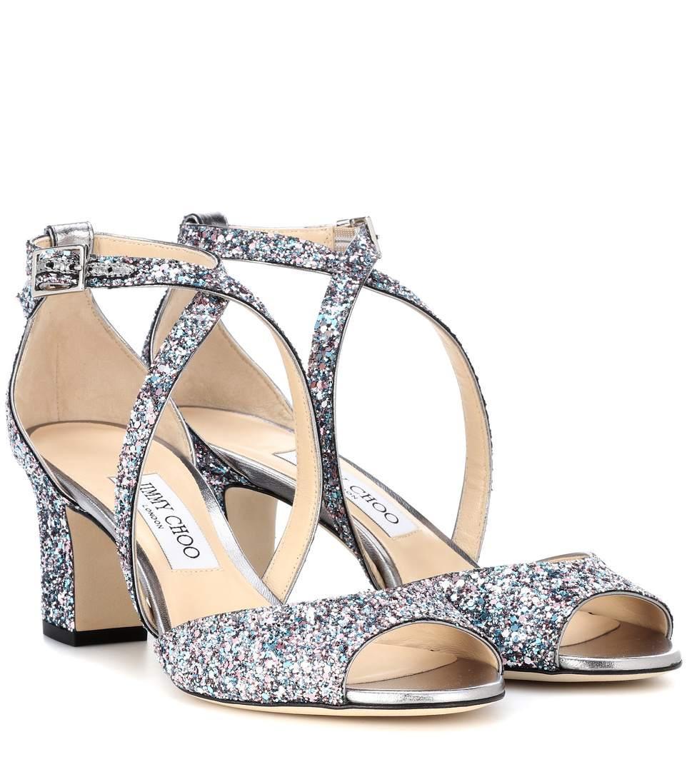34b3f6ba526a Jimmy Choo Carrie 65 Glitter Sandals In Multicoloured