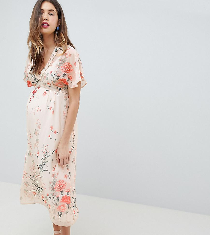 90e2c7e37311 Queen Bee Fluted Sleeve Midi Dress In Floral Print - Multi | ModeSens