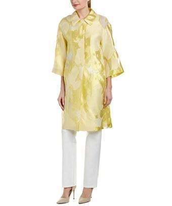 Escada Silk Coat In Yellow