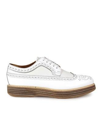 Church's Women's  White Leather Lace-Up Shoes