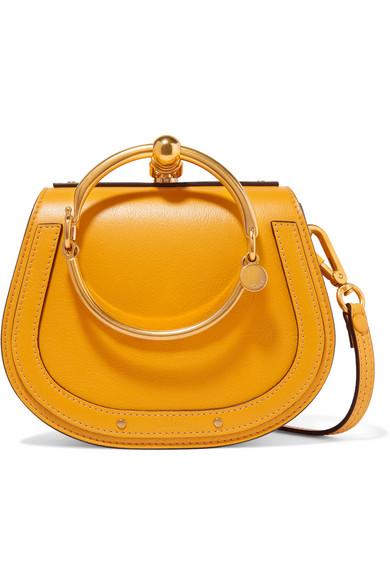 ef9bd7aabf Nile Bracelet Small Textured-Leather Shoulder Bag in Marigold