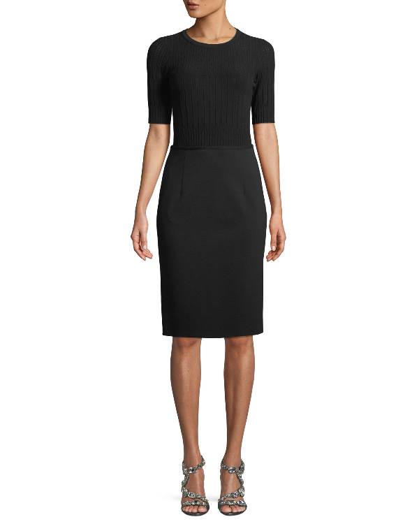Escada Short-Sleeve Knit Top Jersey Bottom Dress In Black