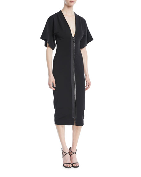 Cushnie Et Ochs Deep-v Two-way Zip Kimono-sleeve Midi Dress In Black