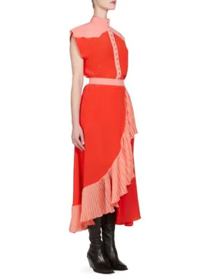 Givenchy Short-Sleeve Snap-Front Colorblock Crepe De Chine Mid-Calf Dress In Red
