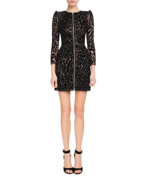 Givenchy Leopard-Pattern Lace & Velvet Minidress - Black