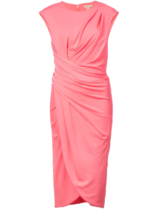 Michael Kors Cap-Sleeve Ruched Stretch Matte Jersey Cocktail Dress In Rose