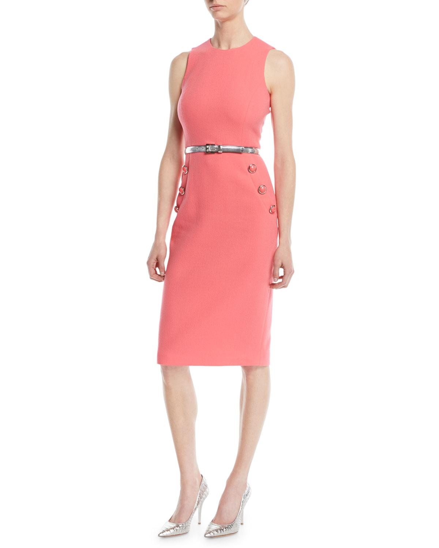 03f680cd49dd Michael Kors Sleeveless Stretch-Boucle Crepe Sheath Dress W  Belt In Rosette