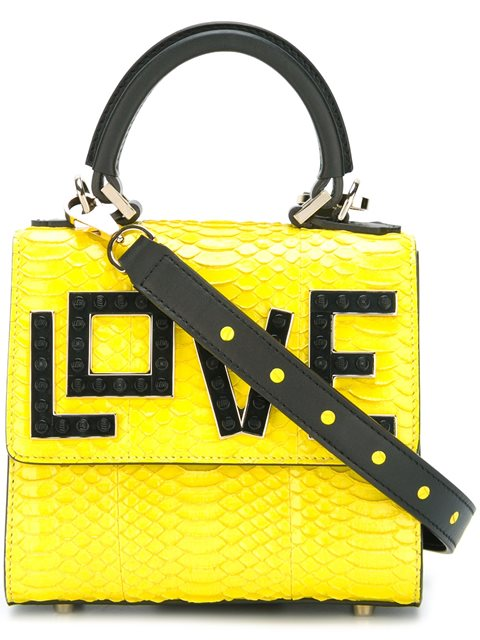 Les Petits Joueurs Micro Alex Love Water Snake Leather Bag, Yellow/black