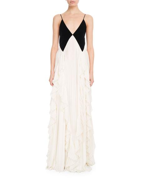 Givenchy Sleeveless Contrast V-Neck Pleated Gown In Black White