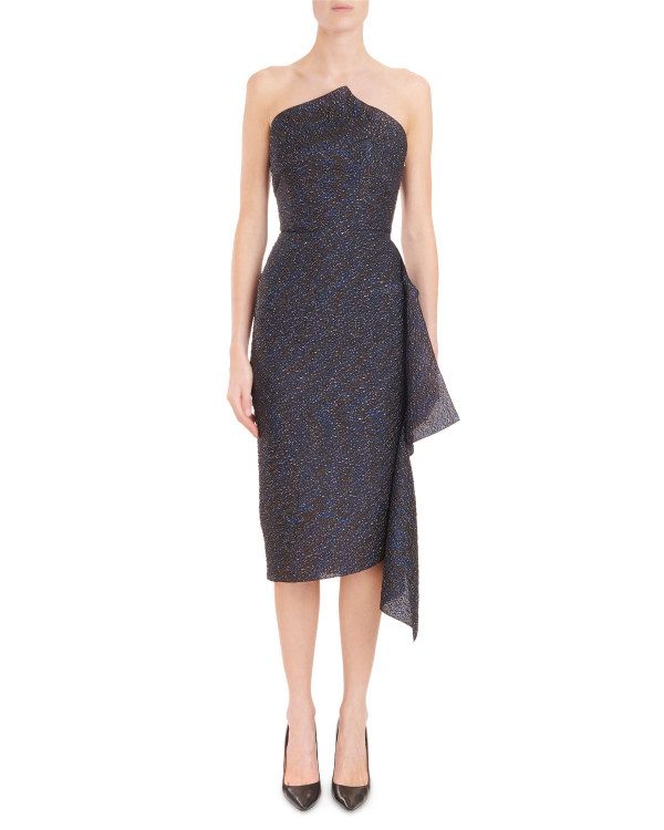 76896cfa3655 Roland Mouret Strapless Metallic-Jacquard Fitted Midi Cocktail Dress, Navy