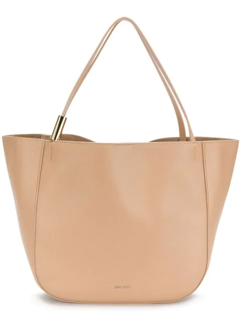 Jimmy Choo Stevie Tote Nude Nappa Leather Tote Bag In Neutrals