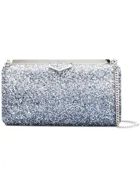Jimmy Choo Ellipse Platinum Mix Clutch Bag In Painted Coarse Glitter Fabric In Metallic