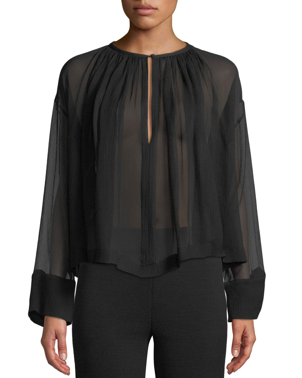 5eee92f4a0a Long-Sleeve Crinkle Chiffon Sheer Trapeze Blouse in Black