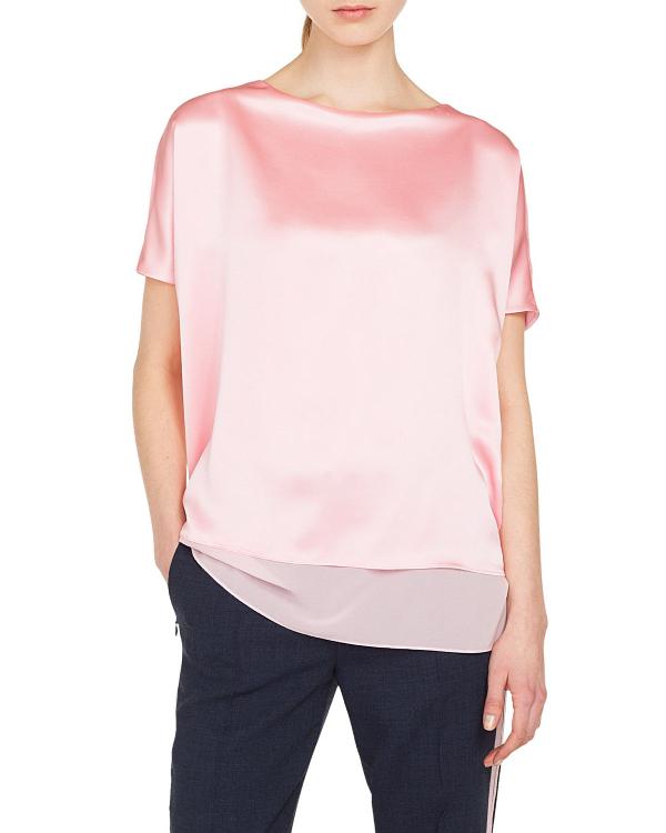 Akris Cap-Sleeve Silk Satin Tunic Blouse In Pink
