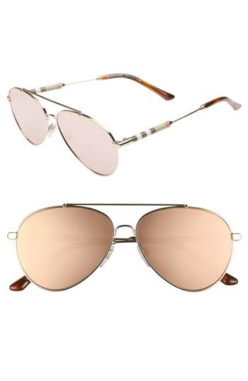 a3f621b0227b Burberry Aviator Sunglasses With Check Temples In Gray/Pink | ModeSens
