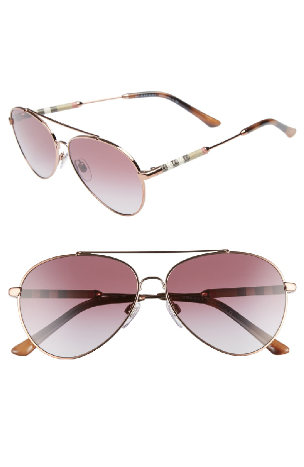 1b254b268d86 Burberry 57Mm Mirrored Aviator Sunglasses - Violet Gradient | ModeSens