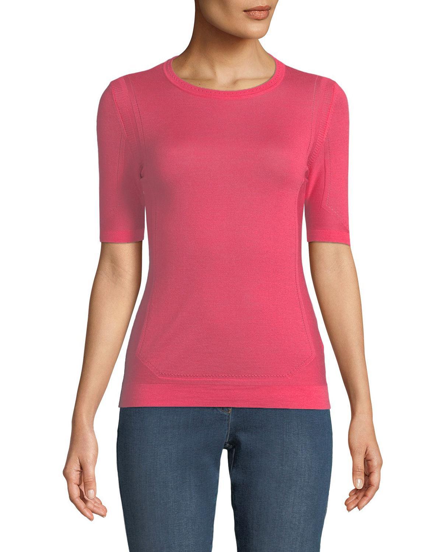 Escada Short-Sleeve Crewneck Pointelle Scuba Knit Top In Pink