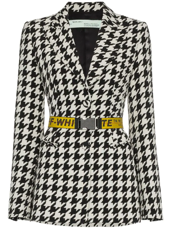 Off-white Single-breasted Houndstooth Wool Jacket With Embossed Belt, Black/white