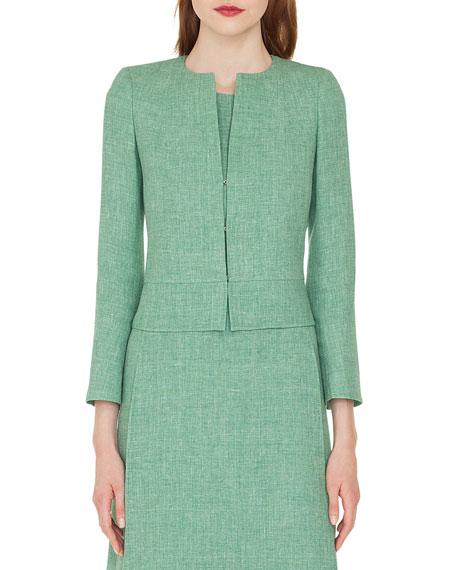 Akris Sally Hook-Closure Short Linen Jacket In Green