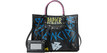 Balenciaga Papier Graffiti Zip-Around A6 Leather Tote In Multi