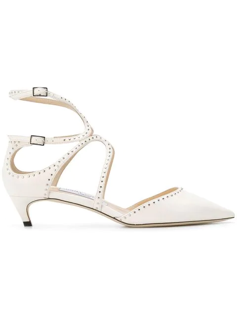 757160fe6 Jimmy Choo Lancer Flat Chalk Nappa Leather Pointy Toe Flats With Silver  Micro Studs In White