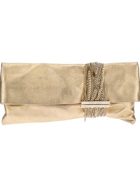 Jimmy Choo Chandra Chain & Rhinestone Embellished Metallic Leather Clutch