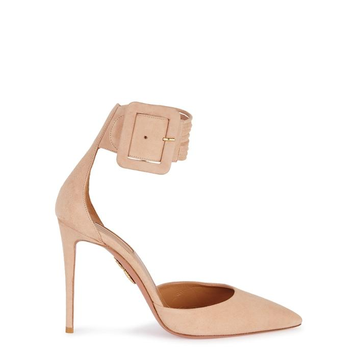 Aquazzura Casablanca Peach Suede Pumps In Nude