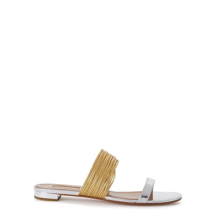 dcb371a8b1f Aquazzura Rendezvous Silver Leather Sandals