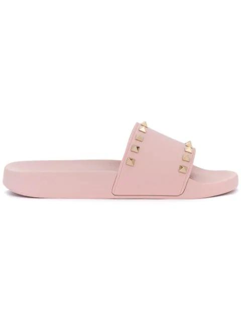 Valentino Garavani Rockstud Slides In Pink
